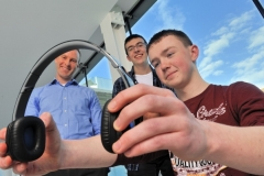 REPRO FREEHIGH TECH ELEC SHOWCASES FUTURE CAREERSDr Mark Barry of the Tyndall Institute; Odhran OÕCallaghan, Christian Brothers College Cork and Luke Gayer, Presentation Brothers College pictured at the HighTechElec Transition Year Work Experience Progr