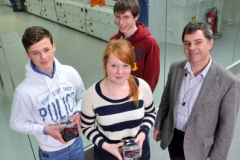 TechnoDen Feb. 2014 Winners: Ronan Cooper, CBC Cork, Georgina Prendergast, Col. Choilim, and Stephen O'Brien, CSN Cork, with Eamon Connolly of CEIA pictured in Tyndall