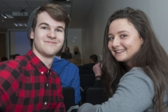 FREE PIC - NO REPRO FEE - Jan 23, 2016 Luke Quigley, Col. Chriost Ri and Leah Buckley, St. Angelas College who attended the HighTech TY - TechnoDen Innovation Competition 2016 which took place at the Tyndall National Institute in Cork. Pic: Ger McCarthy