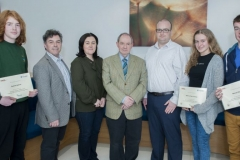 FREE PIC - NO REPRO FEE - Jan 23, 2016 Runners up in the HighTech TY - TechnoDen Innovation Competition 2016 which took place at the Tyndall National Institute in Cork. From left: Dominic Kjelsen, Scol Phobail, Bheara;  organiser Dr. Eamon Connolly, Cork