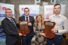 FREE PIC - NO REPRO FEE - Feb 11, 2020 Cathal Reilly (left), chairman of the CEIA making a presentation to Conor Walsh, CIT Elecronic and Electrical Eng Dept Student of the Year 2019 along with Valerie Cowman, Chair of Cork ETB presenting Barry Ryan, who