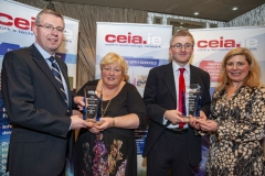 FREE PIC - NO REPRO FEE - Feb 11, 2020 Cathal Reilly (left), chair of the CEIA and Valerie Cowman, chair of Cork ETB presenting teachers Rosemary Ferriter of St Vincent's Sec. School and Sean Finn, Col. Daibheid with the CEIA Teachers' Awards in recogniti