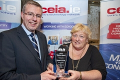 FREE PIC - NO REPRO FEE - Feb 11, 2020 Cathal Reilly, chair of the CEIA presenting Rosemary Ferriter of St Vincent's Sec. School with the CEIA Teachers' Award in recognition of her contributions to STEM Activities at the 35th AGM of the CEIA, Cork's Techn