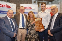 FREE PIC - NO REPRO FEE - Feb 11, 2020 Valerie Cowman, chair of Cork ETB preenting Barry Ryan, UCC's Student of the Year for 2019 in Electronic and Electrical Engineering with the CEIA's perpetual plaque in recognition of his achievement; also included ar