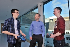 REPRO FREE HIGH TECH ELEC SHOWCASES FUTURE CAREERS Odhran OÕCallaghan, Christian Brothers College Cork;  Dr Mark Barry of the Tyndall Institute  and Luke Gayer, Presentation Brothers College pictured at the HighTechElec Transition Year Work Experience Pro