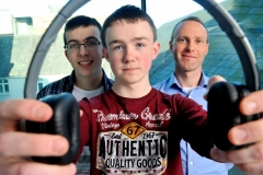REPRO FREE HIGH TECH ELEC SHOWCASES FUTURE CAREERS Dr Mark Barry of the Tyndall Institute; Odhran OÕCallaghan, Christian Brothers College Cork and Luke Gayer, Presentation Brothers College pictured at the HighTechElec Transition Year Work Experience Progr
